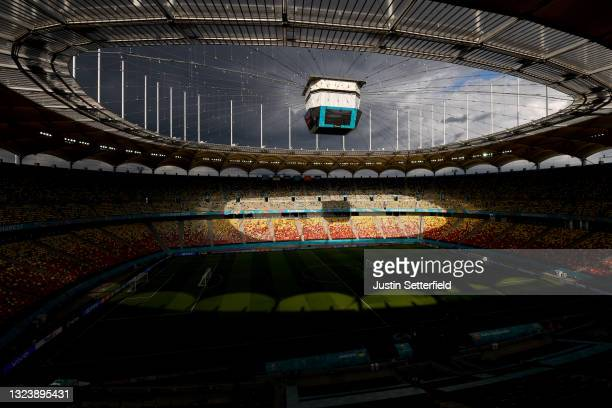 General view inside the stadium during a Training Session ahead of the Euro 2020 Group C match between Ukraine and North Macedonia at National Arena...