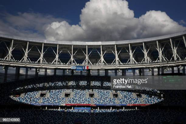 A general view inside the stadium during a training session at Nizhny Novgorod Stadium on July 5 2018 in Nizhny Novgorod Russia