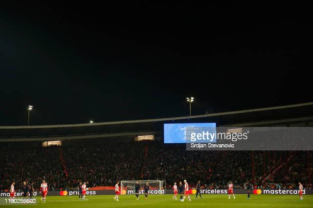 General view inside the stadium during a VAR check during the UEFA Champions League group B match between Crvena Zvezda and Bayern Muenchen at Rajko...