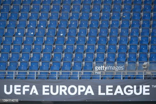A general view inside the stadium during an AS Roma Training Session And Press Conference at MSV Arena on August 05 2020 in Duisburg Germany