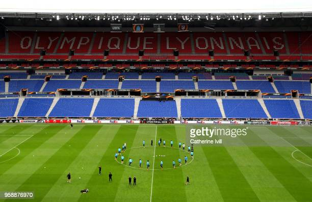 General view inside the stadium during an Olympique de Marseille training session ahead of the the UEFA Europa League Final against Club Atletico de...