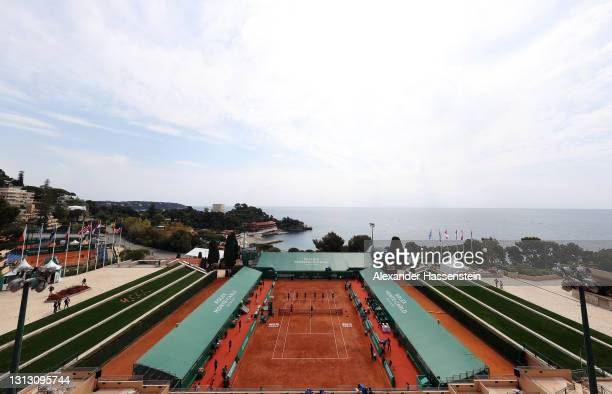 General view inside the stadium during day eight of the Rolex Monte-Carlo Masters at Monte-Carlo Country Club on April 18, 2021 in Monte-Carlo,...