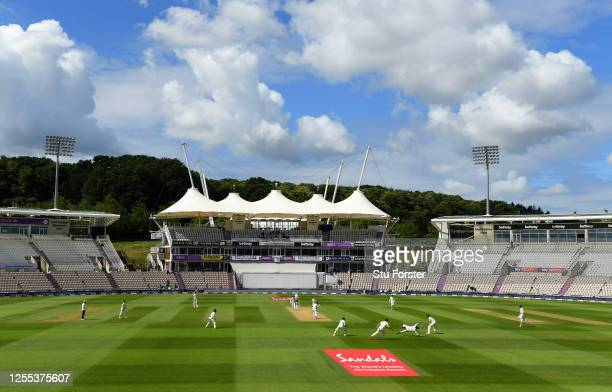 General view inside the stadium during Day Three of the 1st #RaiseTheBat Test Series between England and The West Indies at The Ageas Bowl on July...