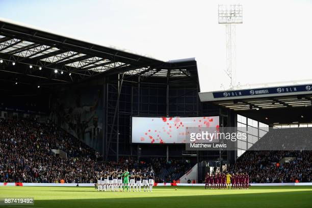 General view inside the stadium during minute of silence for remembrance day prior to the Premier League match between Liverpool and Huddersfield...