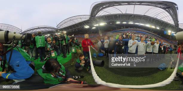 General view inside the stadium during national anthems prior to the 2018 FIFA World Cup Russia Semi Final match between Belgium and France at Saint...