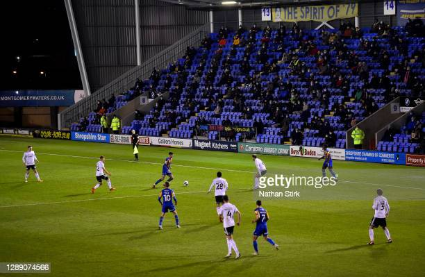 General view inside the stadium during play as fans look on from the stands in the Sky Bet League One match between Shrewsbury Town and Accrington...
