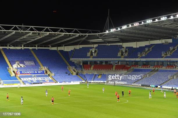 General view inside the stadium during play in Carabao Cup Second Round match between Reading FC and Luton Town at Madejski Stadium on September 15...