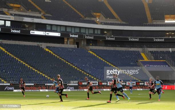 A general view inside the stadium during play in the Bundesliga match between Eintracht Frankfurt and Borussia Moenchengladbach at CommerzbankArena...