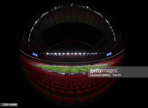 General view inside the stadium during play in the FIFA World Cup 2022 Qatar qualifying match between England and San Marino at Wembley Stadium on...