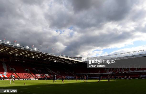 General view inside the stadium during play in the Premier League match between Sheffield United and Chelsea FC at Bramall Lane on July 11, 2020 in...