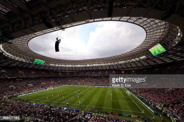 General view inside the stadium during the 2018 FIFA World Cup Final between France and Croatia at Luzhniki Stadium on July 15 2018 in Moscow Russia