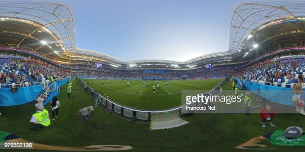 General view inside the stadium during the 2018 FIFA World Cup Russia group C match between Peru and Denmark at Mordovia Arena on June 16 2018 in...