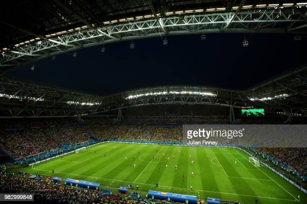 General view inside the stadium during the 2018 FIFA World Cup Russia group H match between Poland and Colombia at Kazan Arena on June 24 2018 in...