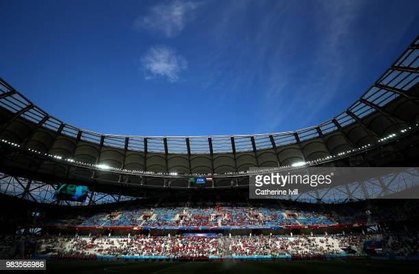 General view inside the stadium during the 2018 FIFA World Cup Russia group A match between Saudia Arabia and Egypt at Volgograd Arena on June 25...