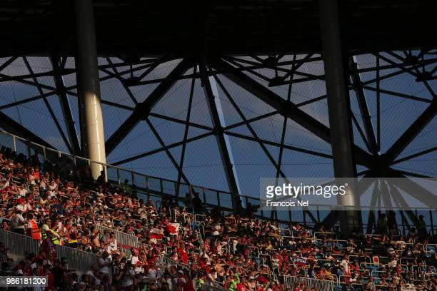 General view inside the stadium during the 2018 FIFA World Cup Russia group H match between Japan and Poland at Volgograd Arena on June 28 2018 in...