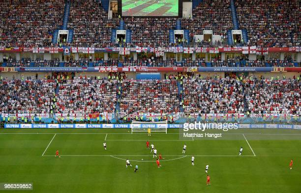 General view inside the stadium during the 2018 FIFA World Cup Russia group G match between England and Belgium at Kaliningrad Stadium on June 28...