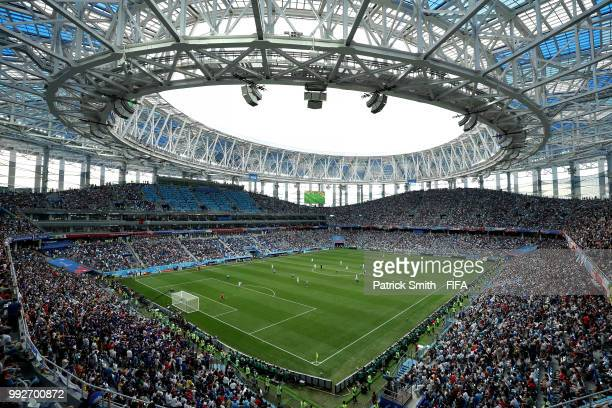 General view inside the stadium during the 2018 FIFA World Cup Russia Quarter Final match between Uruguay and France at Nizhny Novgorod Stadium on...