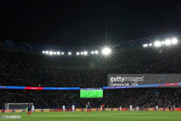 General view inside the stadium during the 2019 FIFA Women's World Cup France group A match between France and Korea Republic at Parc des Princes on...