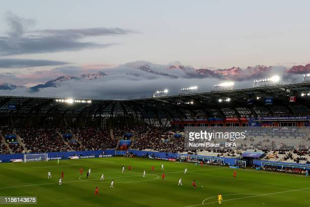 General view inside the stadium during the 2019 FIFA Women's World Cup France group E match between Canada and New Zealand at Stade des Alpes on June...