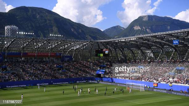 General view inside the stadium during the 2019 FIFA Women's World Cup France Round Of 16 match between Germany and Nigeria at Stade des Alpes on...