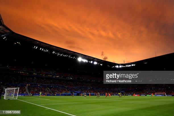 General view inside the stadium during the 2019 FIFA Women's World Cup France Semi Final match between Netherlands and Sweden at Stade de Lyon on...