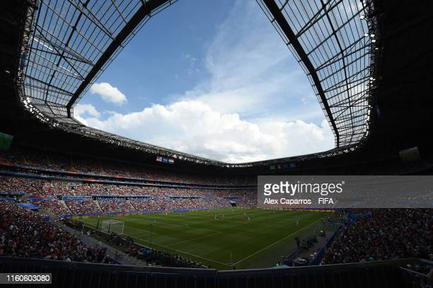 General view inside the stadium during the 2019 FIFA Women's World Cup France Final match between The United States of America and The Netherlands at...