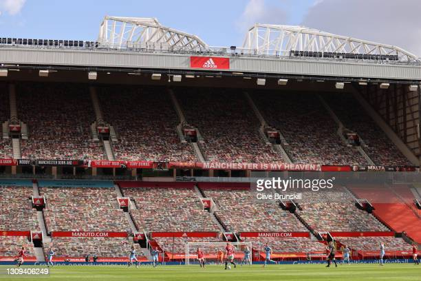 General view inside the stadium during the Barclays FA Women's Super League match between Manchester United Women and West Ham United Women at Old...