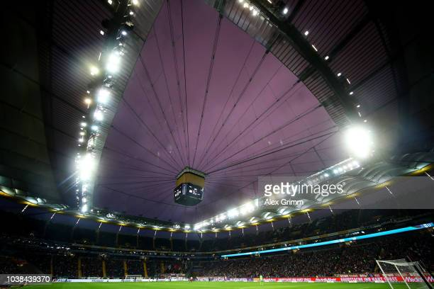 General view inside the stadium during the Bundesliga match between Eintracht Frankfurt and RB Leipzig at CommerzbankArena on September 23 2018 in...