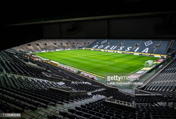 General view inside the stadium during the Bundesliga match between Borussia Mönchengladbach and FC Augsburg at Borussia-Park on January 26, 2019 in...