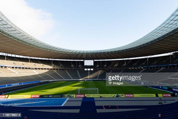 General view inside the stadium during the Bundesliga match between Hertha BSC and Borussia Dortmund at Olympiastadion on November 30, 2019 in...