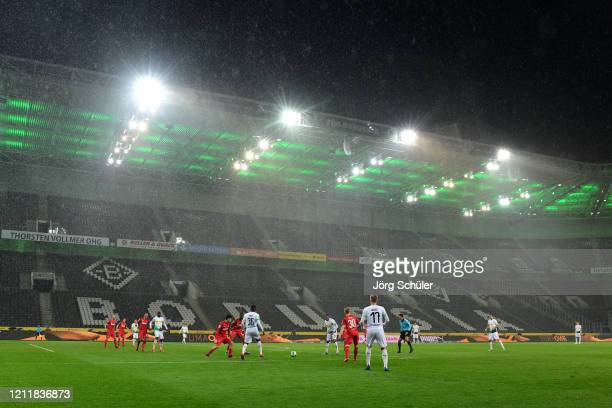 General view inside the stadium during the Bundesliga match between Borussia Moenchengladbach and 1. FC Koeln at Borussia-Park on March 11, 2020 in...