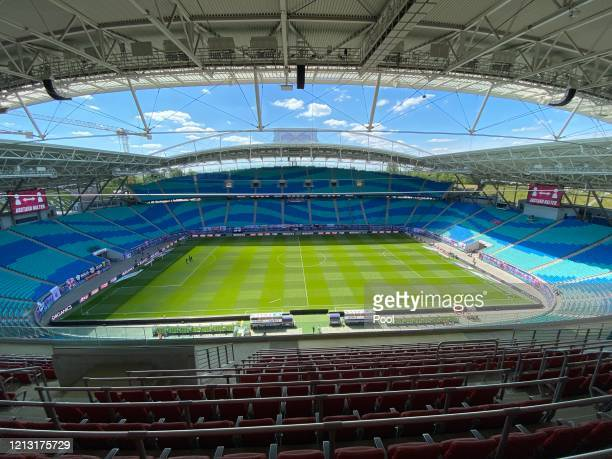 General view inside the stadium during the Bundesliga match between RB Leipzig and Sport-Club Freiburg at Red Bull Arena on May 16, 2020 in Leipzig,...
