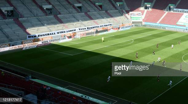 General view inside the stadium during the Bundesliga match between FC Augsburg and VfL Wolfsburg at WWKArena on May 16 2020 in Augsburg Germany The...