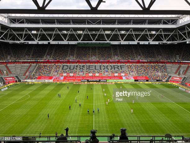 General view inside the stadium during the Bundesliga match between Fortuna Duesseldorf and SC Paderborn 07 at Merkur Spiel-Arena on May 16, 2020 in...