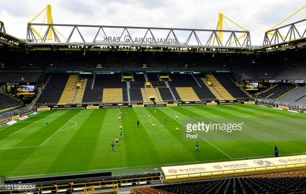 A general view inside the stadium during the Bundesliga match between Borussia Dortmund and FC Schalke 04 at Signal Iduna Park on May 16 2020 in...