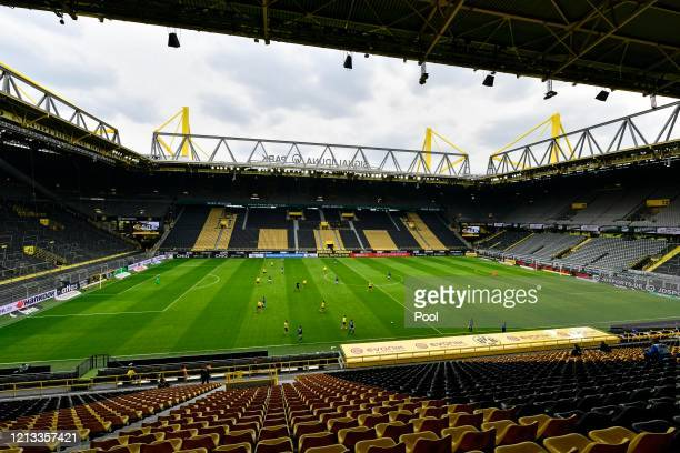 General view inside the stadium during the Bundesliga match between Borussia Dortmund and FC Schalke 04 at Signal Iduna Park on May 16, 2020 in...