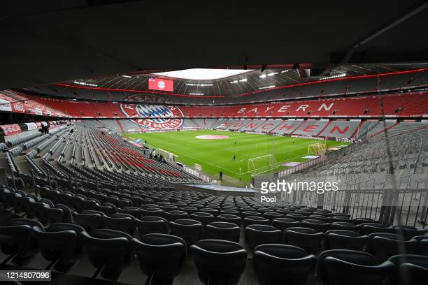 General view inside the stadium during the Bundesliga match between FC Bayern Muenchen and Eintracht Frankfurt at Allianz Arena on May 23 2020 in...