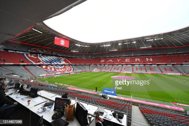 General view inside the stadium during the Bundesliga match between FC Bayern Muenchen and Eintracht Frankfurt at Allianz Arena on May 23, 2020 in...