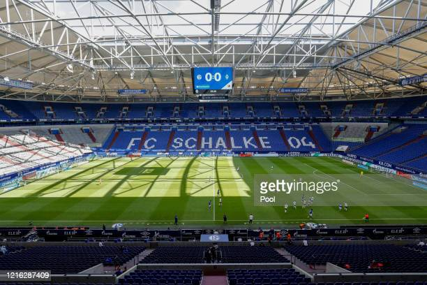 General view inside the stadium during the Bundesliga match between FC Schalke 04 and SV Werder Bremen at Veltins-Arena on May 30, 2020 in...