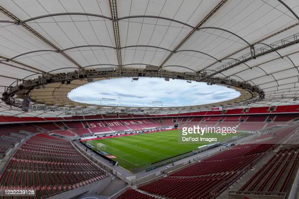 General view inside the stadium during the Bundesliga match between VfB Stuttgart and Borussia Dortmund at Mercedes-Benz Arena on April 10, 2021 in...