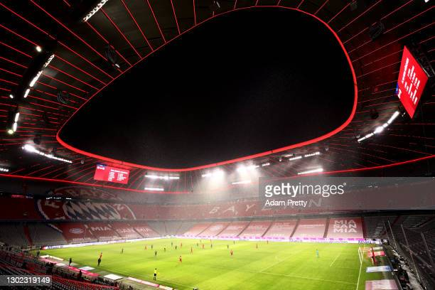 General view inside the stadium during the Bundesliga match between FC Bayern Muenchen and DSC Arminia Bielefeld at Allianz Arena on February 15,...