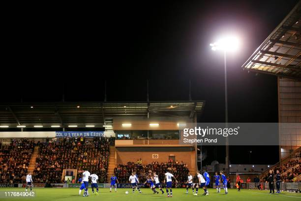 General view inside the stadium during the Carabao Cup Third Round match between Colchester United and Tottenham Hotspur at JobServe Community...