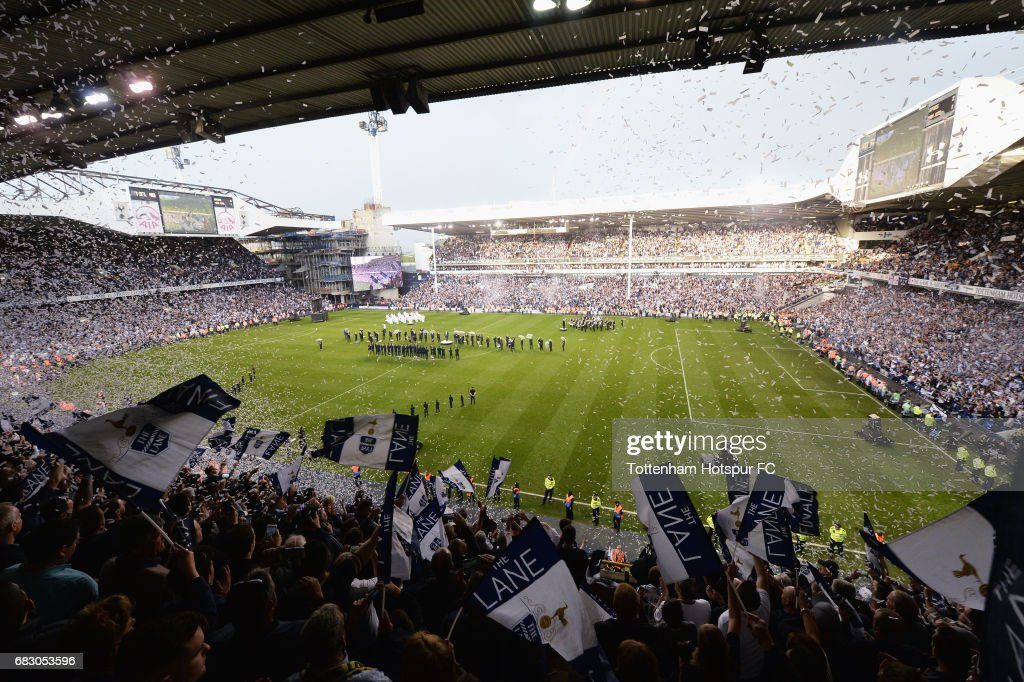 General view inside the stadium during the closing ceremony after the Premier League match between Tottenham Hotspur and Manchester United at White Hart Lane on May 14, 2017 in London, England. Tottenham Hotspur are playing their last ever home match at White Hart Lane after their 118 year stay at the stadium. Spurs will play at Wembley Stadium next season with a move to a newly built stadium for the 2018-19 campaign.