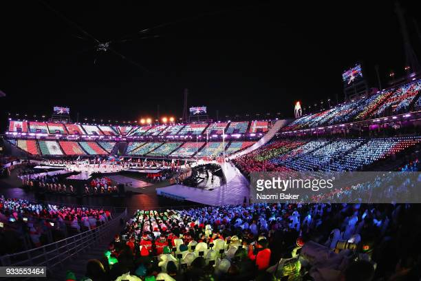 A general view inside the stadium during the closing ceremony of the PyeongChang 2018 Paralympic Games at the PyeongChang Olympic Stadium on March 18...