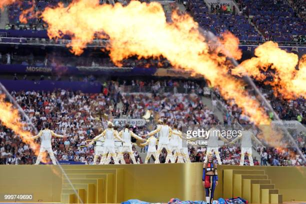 General view inside the stadium during the closing cermony prior to the 2018 FIFA World Cup Final between France and Croatia at Luzhniki Stadium on...