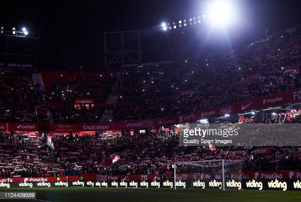 General view inside the stadium during the Copa del Rey Quarter Final match between Sevilla FC and FC Barcelona at Estadio Ramon Sanchez Pizjuan on...