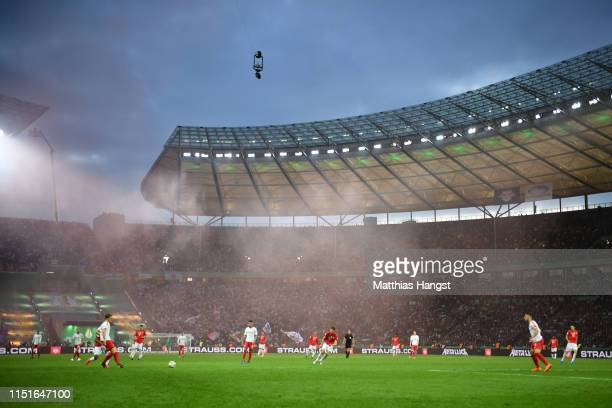General view inside the stadium during the DFB Cup final between RB Leipzig and Bayern Muenchen at Olympiastadion on May 25 2019 in Berlin Germany