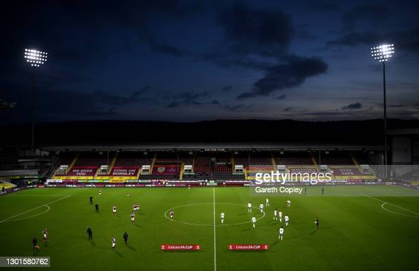 General view inside the stadium during The Emirates FA Cup Fifth Round match between Burnley and AFC Bournemouth at Turf Moor on February 09, 2021 in...
