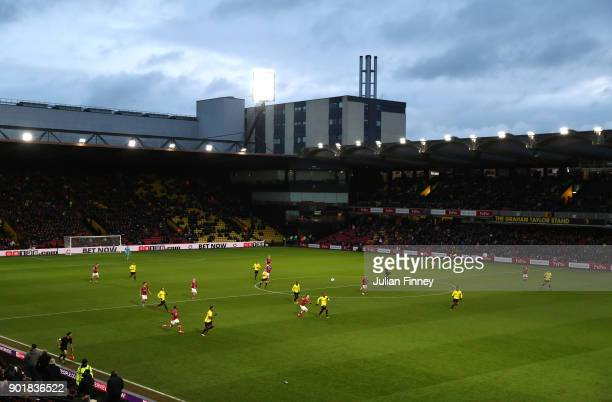 General view inside the stadium during The Emirates FA Cup Third Round match between Watford and Bristol City at Vicarage Road on January 6 2018 in...