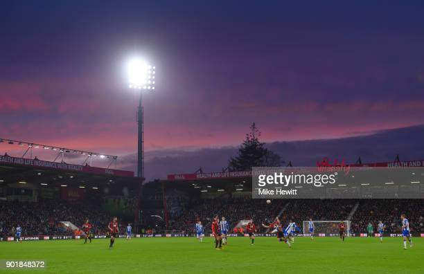 General view inside the stadium during The Emirates FA Cup Third Round match between AFC Bournemouth and Wigan Athletic at Vitality Stadium on...